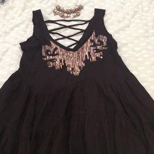 Free People black sequined tunic.